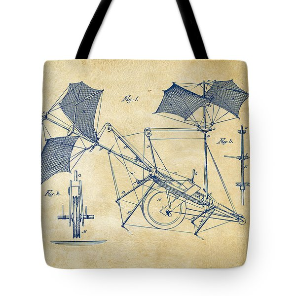 1879 Quinby Aerial Ship Patent Minimal - Vintage Tote Bag by Nikki Marie Smith