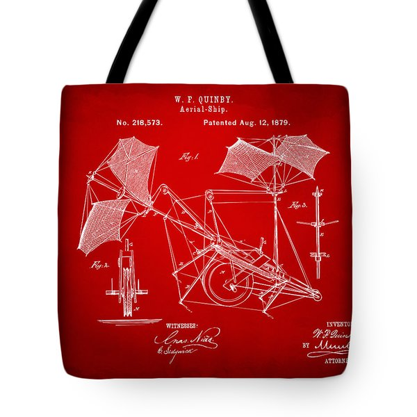 1879 Quinby Aerial Ship Patent - Red Tote Bag by Nikki Marie Smith