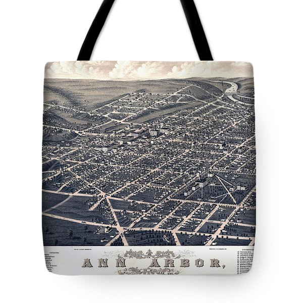 1880 Birds Eye Map Of Ann Arbor Tote Bag by Stephen Stookey