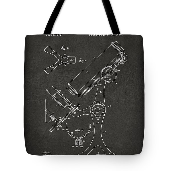 1886 Microscope Patent Artwork - Gray Tote Bag by Nikki Marie Smith