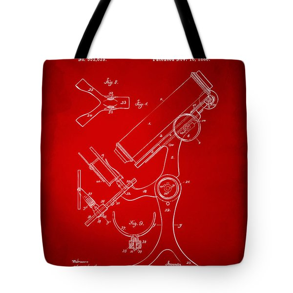 1886 Microscope Patent Artwork - Red Tote Bag by Nikki Marie Smith