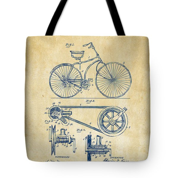 1890 Bicycle Patent Artwork - Vintage Tote Bag by Nikki Marie Smith