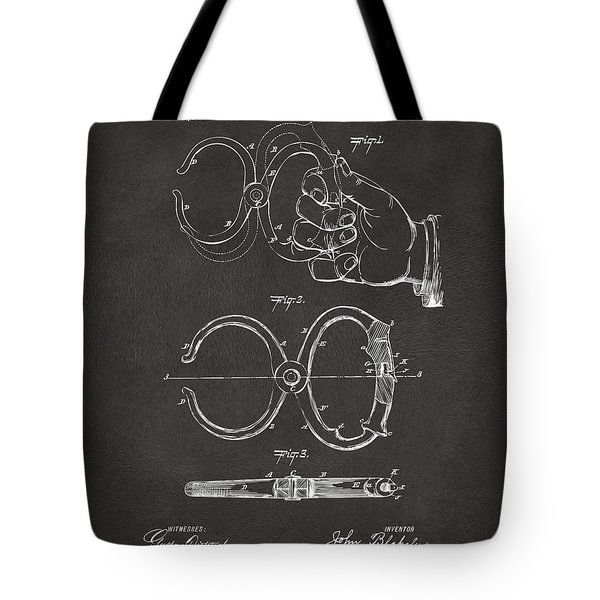 1891 Police Nippers Handcuffs Patent Artwork - Gray Tote Bag by Nikki Marie Smith