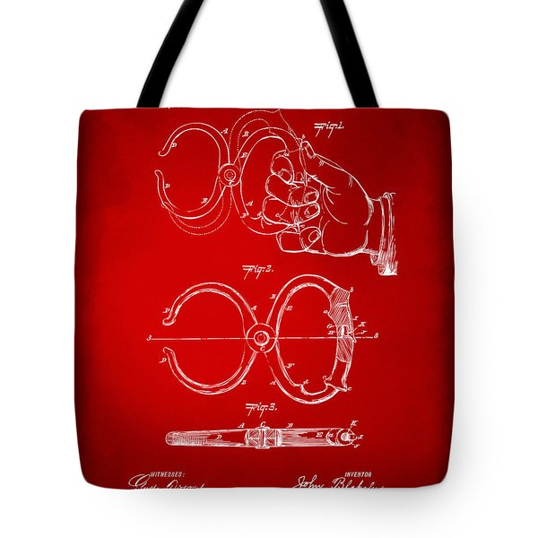 1891 Police Nippers Handcuffs Patent Artwork - Red Tote Bag by Nikki Marie Smith