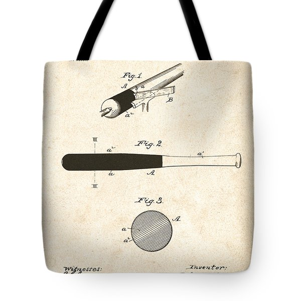 1902 Baseball Bat Patent Tote Bag by Digital Reproductions