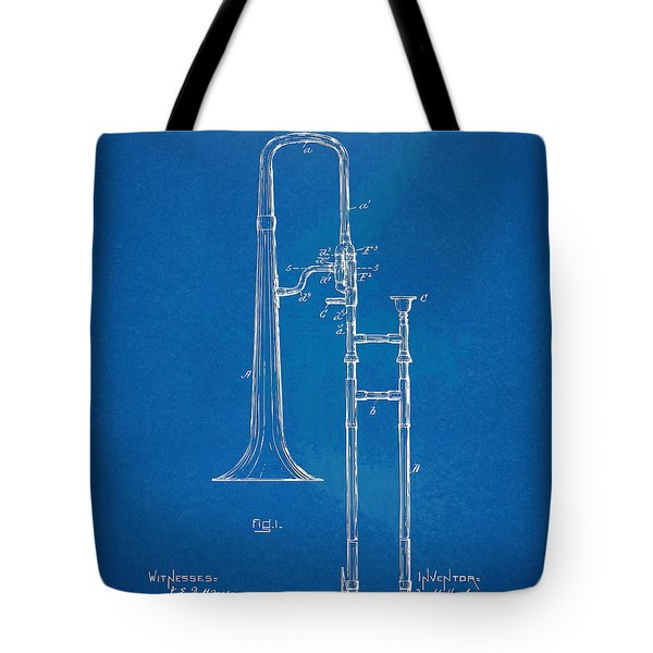 1902 Slide Trombone Patent Blueprint Tote Bag by Nikki Marie Smith