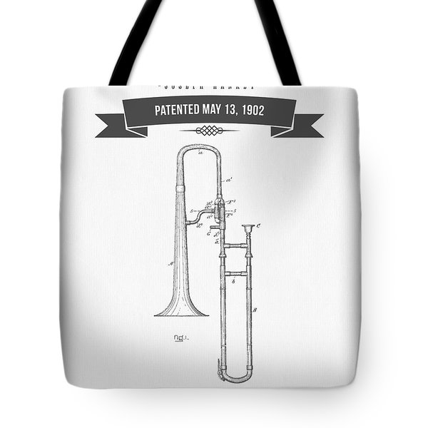 1902 Trombone Patent Drawing Tote Bag by Aged Pixel