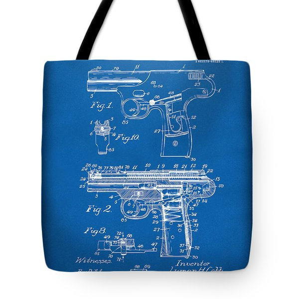 1911 Automatic Firearm Patent Artwork - Blueprint Tote Bag by Nikki Marie Smith