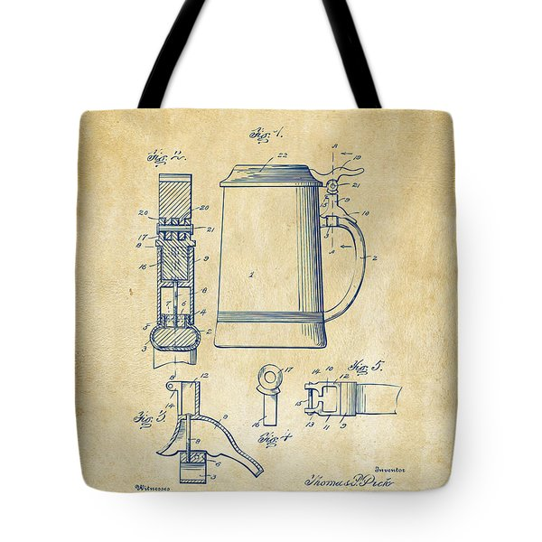 1914 Beer Stein Patent Artwork - Vintage Tote Bag by Nikki Marie Smith