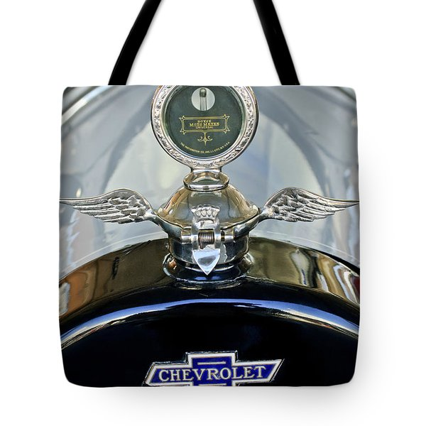1915 Chevrolet Touring Hood Ornament Tote Bag by Jill Reger