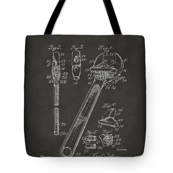 1915 Wrench Patent Artwork - Gray Tote Bag by Nikki Marie Smith