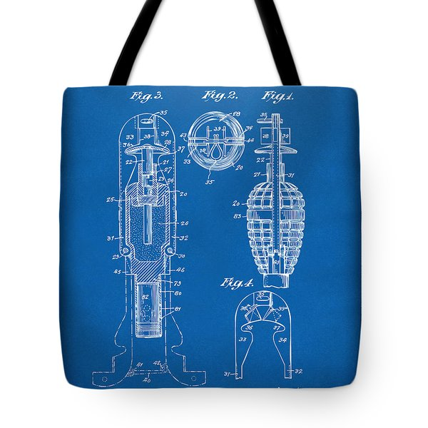 1921 Explosive Missle Patent Blueprint Tote Bag by Nikki Marie Smith