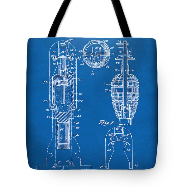 1921 Explosive Missle Patent Minimal Blueprint Tote Bag by Nikki Marie Smith