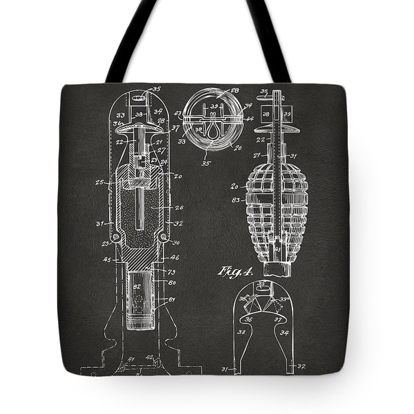 1921 Explosive Missle Patent Minimal Gray Tote Bag by Nikki Marie Smith