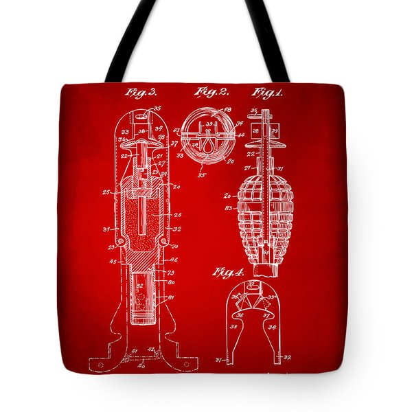 1921 Explosive Missle Patent Red Tote Bag by Nikki Marie Smith