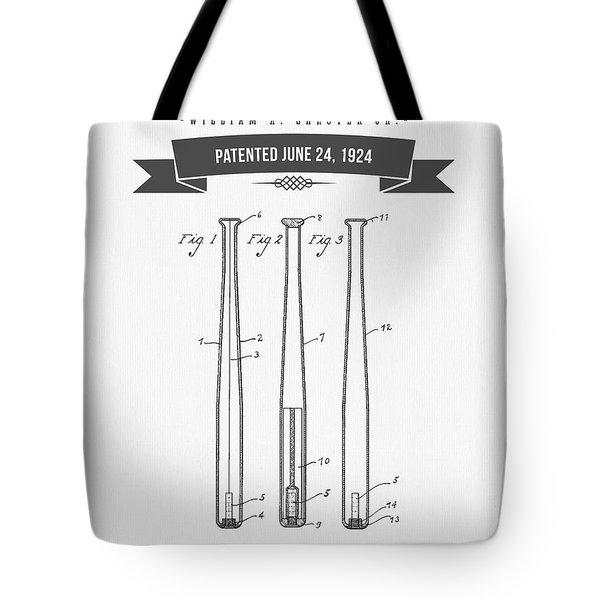 1924 Baseball Bat Patent Drawing Tote Bag by Aged Pixel