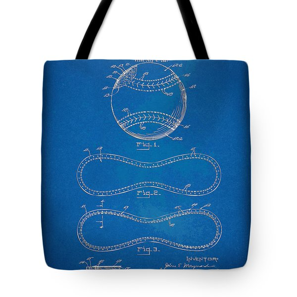 1928 Baseball Patent Artwork - Blueprint Tote Bag by Nikki Smith