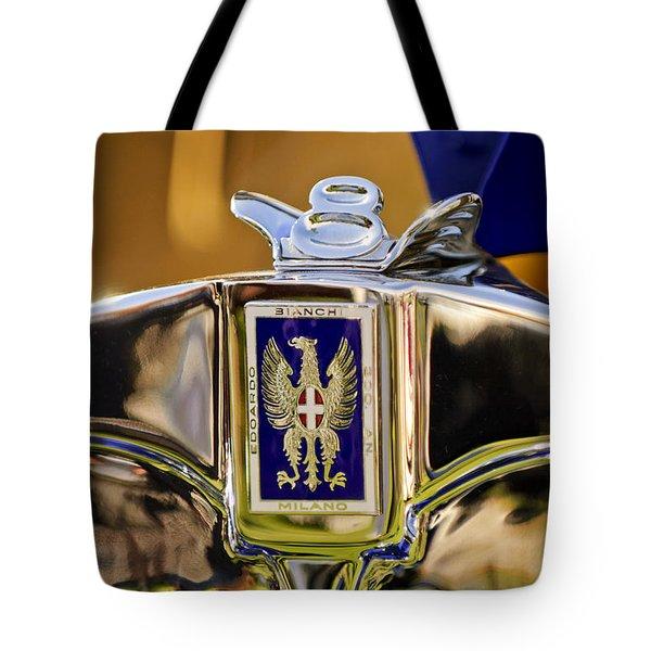 1929 Bianchi S8 Graber Cabriolet Hood Ornament And Emblem Tote Bag by Jill Reger