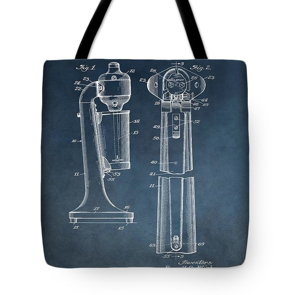 1930 Drink Mixer Patent Blue Tote Bag by Dan Sproul