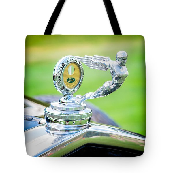 1931 Ford Model A Deluxe Fordor Hood Ornament Tote Bag by Sebastian Musial