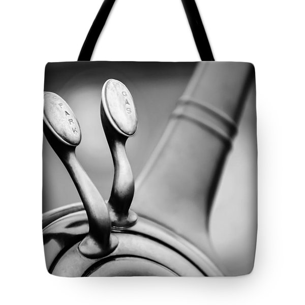 1931 Lincoln K Steering Wheel - Spark - Gas Controls -1865bw Tote Bag by Jill Reger