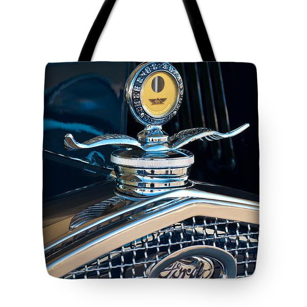 1931 Model A Ford Deluxe Roadster Hood Ornament Tote Bag by Jill Reger