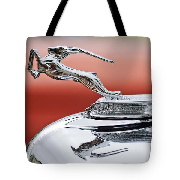 1933 Chrysler CL Imperial Custom Dual Windshield Phaeton Hood Ornament Tote Bag by Jill Reger