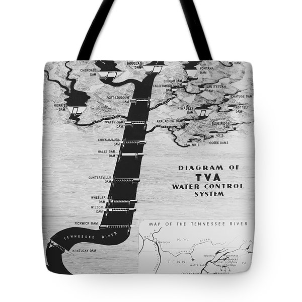 1933 TENNESSEE VALLEY AUTHORITY MAP Tote Bag by Daniel Hagerman