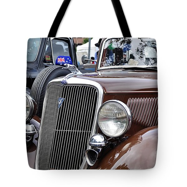 1934 Ford 6 Wheel Equip Front End Tote Bag by Kaye Menner
