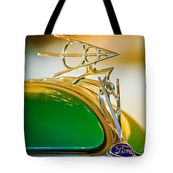 1936 Ford Deluxe Roadster Hood Ornament Tote Bag by Jill Reger