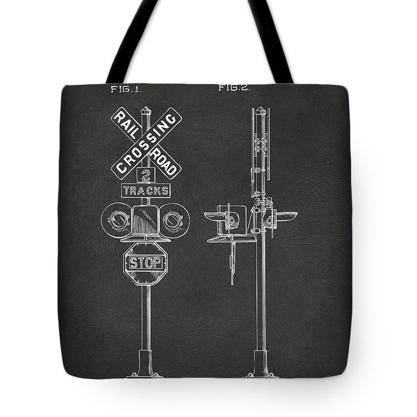 1936 Rail Road Crossing Sign Patent Artwork - Gray Tote Bag by Nikki Marie Smith