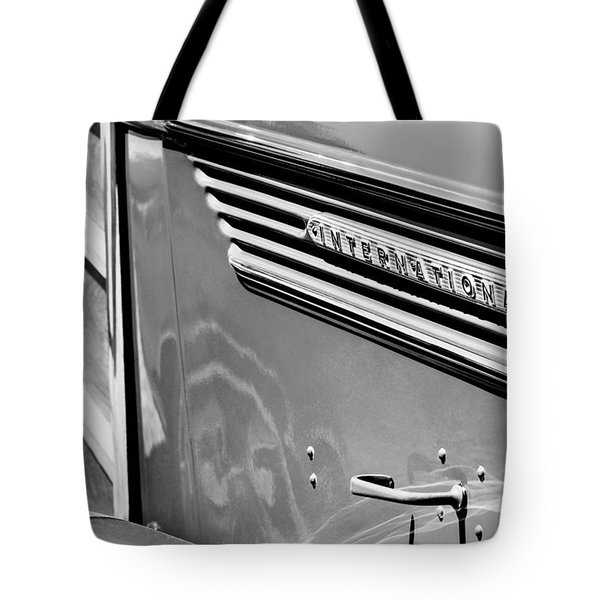 1937 International D-2 Station Wagon Side Emblem Tote Bag by Jill Reger