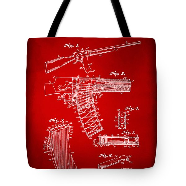 1937 Police Remington Model 8 Magazine Patent Artwork - Red Tote Bag by Nikki Marie Smith