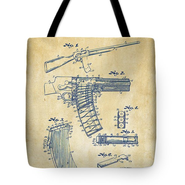 1937 Police Remington Model 8 Magazine Patent Artwork - Vintage Tote Bag by Nikki Marie Smith