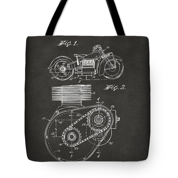 1941 Indian Motorcycle Patent Artwork - Gray Tote Bag by Nikki Marie Smith
