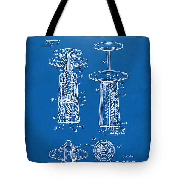 1944 Wine Corkscrew Patent Artwork - Blueprint Tote Bag by Nikki Marie Smith