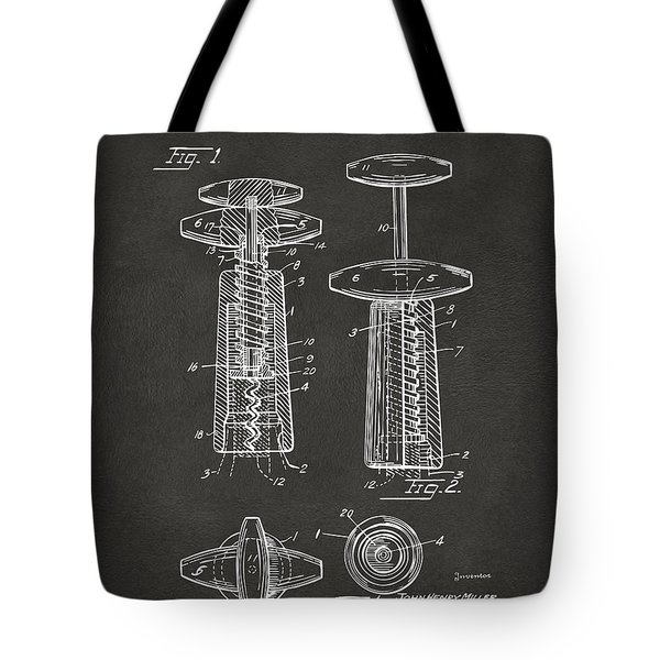 1944 Wine Corkscrew Patent Artwork - Gray Tote Bag by Nikki Marie Smith