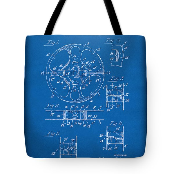 1949 Movie Film Reel Patent Artwork - Blueprint Tote Bag by Nikki Marie Smith