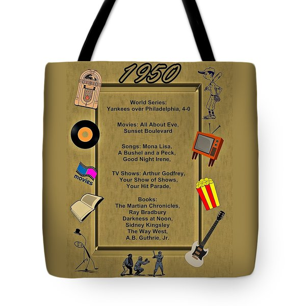 1950 Great Events Tote Bag by Movie Poster Prints