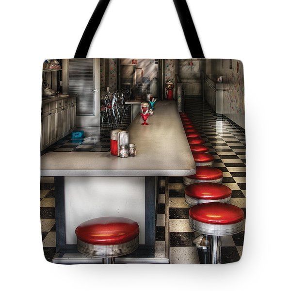 1950's - The Ice Cream Parlor Tote Bag by Mike Savad