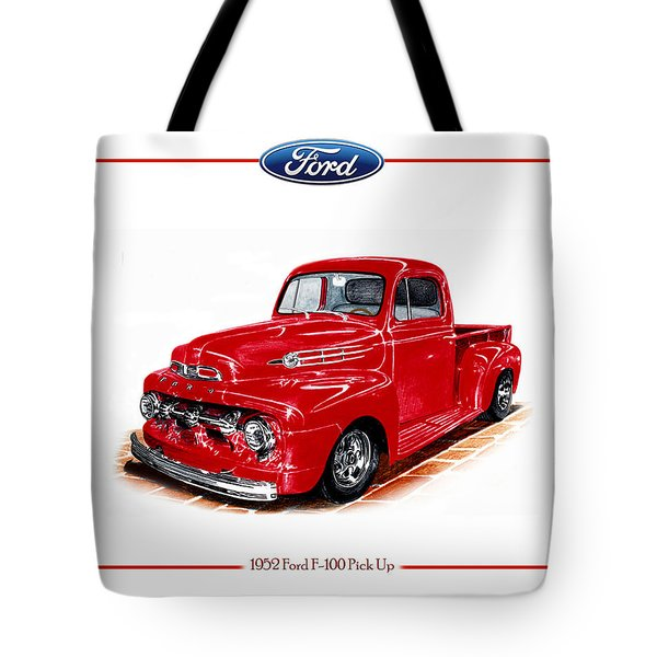 1952 Ford F-100 Pick Up Tote Bag by Jack Pumphrey