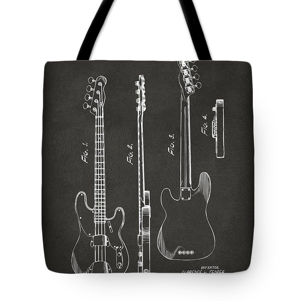 1953 Fender Bass Guitar Patent Artwork - Gray Tote Bag by Nikki Marie Smith