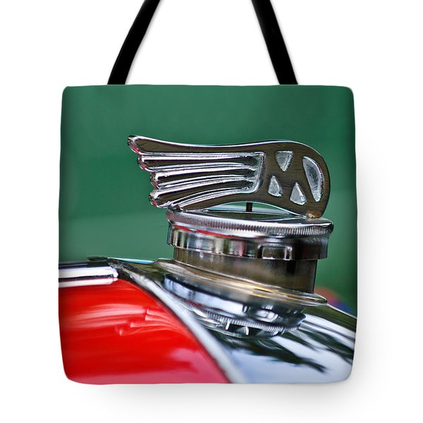 1953 Morgan plus 4 Le Mans TT Special Hood Ornament Tote Bag by Jill Reger