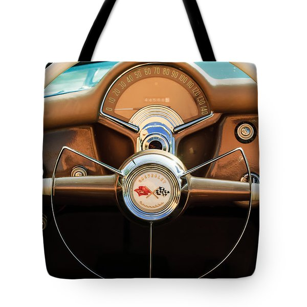 1954 Chevrolet Corvette Convertible  Steering Wheel Tote Bag by Jill Reger