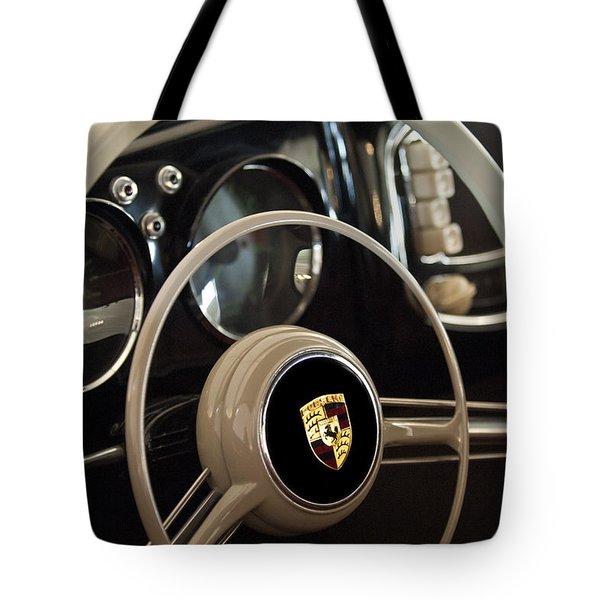 1954 Porsche 356 Bent-Window Coupe Steering Wheel Emblem Tote Bag by Jill Reger