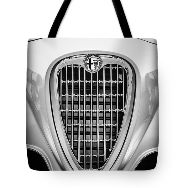 1955 Alfa Romeo 1900 Css Ghia Aigle Cabriolet Grille Emblem -0564bw Tote Bag by Jill Reger