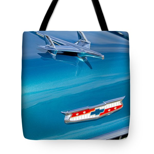 1955 Chevrolet Belair Hood Ornament 7 Tote Bag by Jill Reger