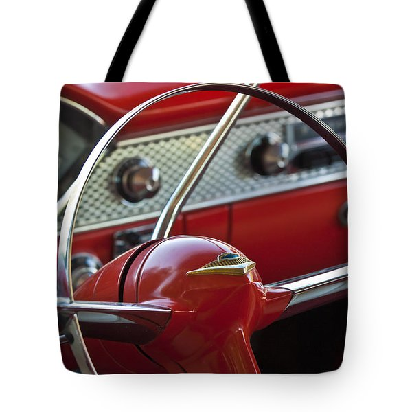 1955 Chevrolet Belair Nomad Steering Wheel Tote Bag by Jill Reger