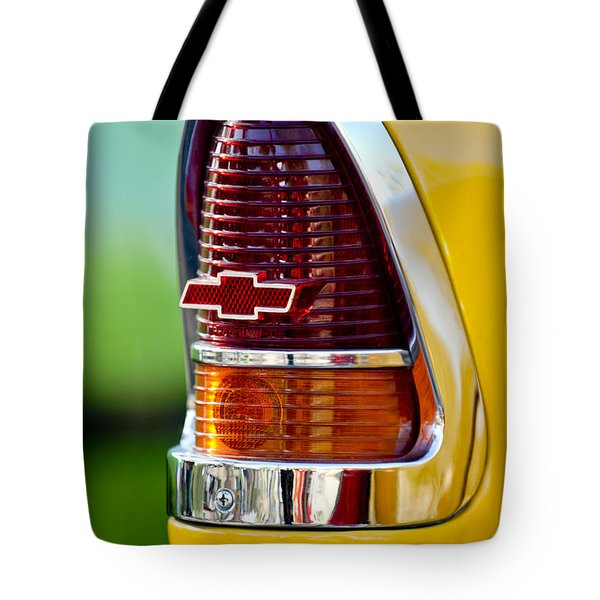 1955 Chevrolet Taillight Emblem Tote Bag by Jill Reger