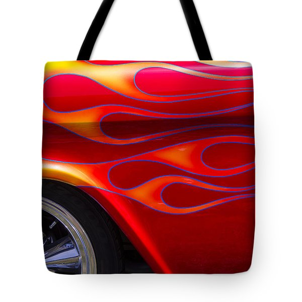 1955 Chevy Pickup With Flames Tote Bag by Garry Gay